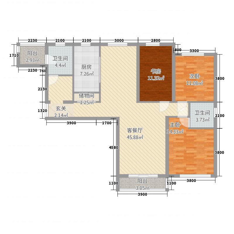 金水湾B区141.70㎡A户型3室2厅1卫1厨