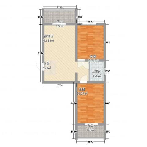 柏杨新苑2室1厅1卫0厨84.00㎡户型图