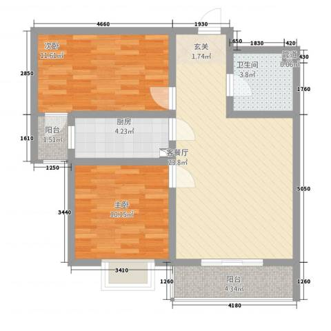 翠堤春晓2室1厅1卫1厨87.00㎡户型图