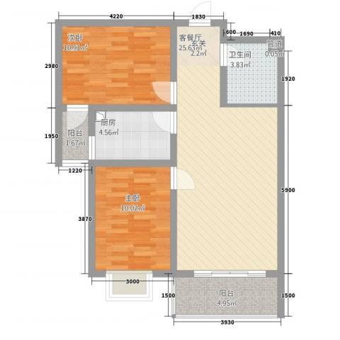 翠堤春晓2室1厅1卫1厨90.00㎡户型图