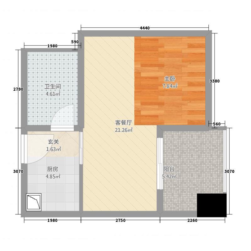 英俊公寓53.20㎡B户型1室1厅1卫1厨