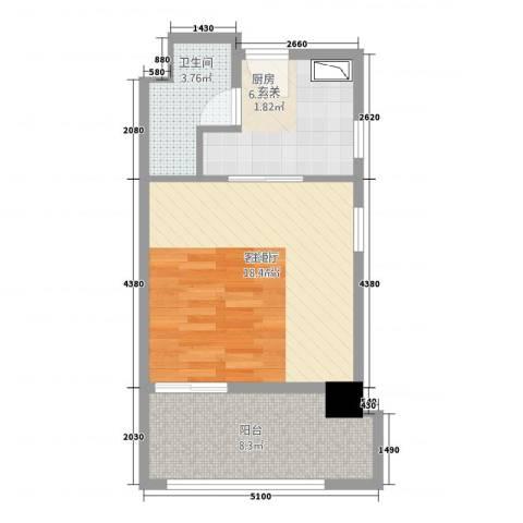 英俊公寓1厅1卫1厨54.00㎡户型图