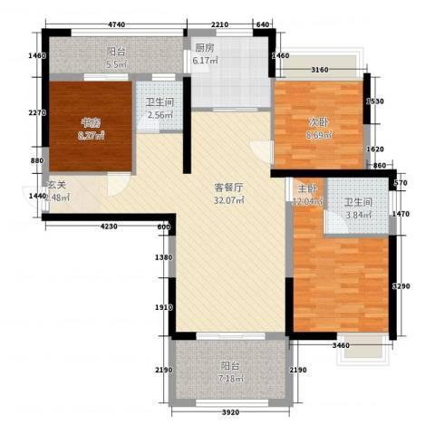 三盛颐景御园3室1厅2卫1厨124.00㎡户型图