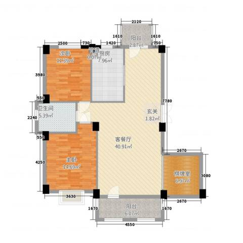 南郡天下2室1厅1卫1厨121.00㎡户型图