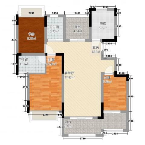 三盛颐景御园3室1厅2卫1厨121.00㎡户型图