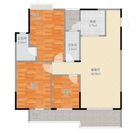 钜隆罗村风度花园3室1厅2卫1厨113.00㎡户型图