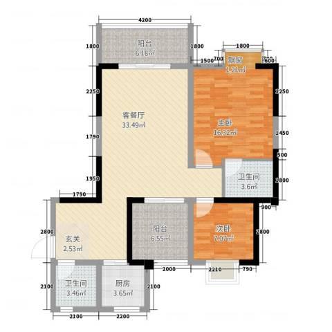 曼哈顿广场2室1厅2卫1厨92.49㎡户型图