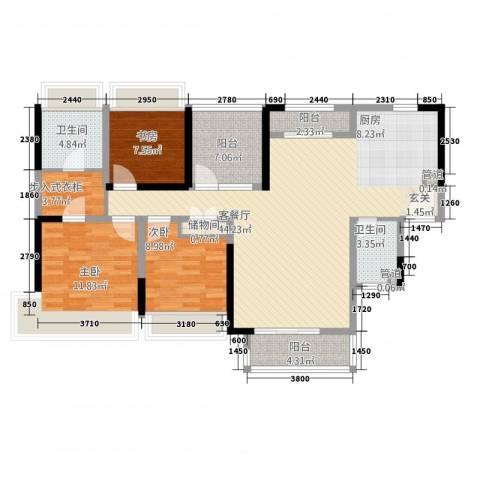 禅城绿地中心3室1厅2卫0厨144.00㎡户型图