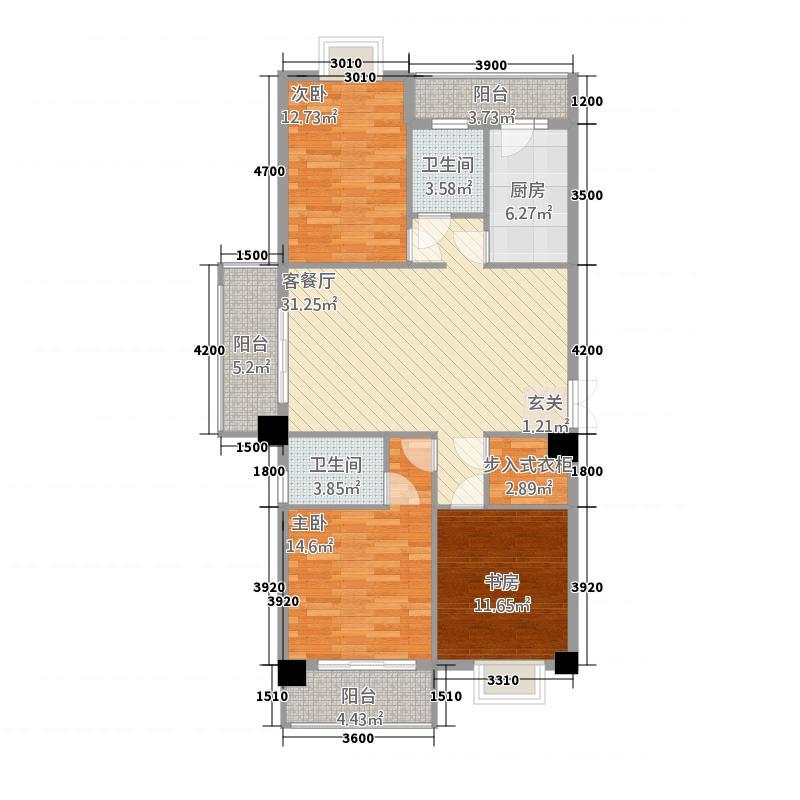 方盛广场127.80㎡3#&4#楼H户型3室2厅2卫1厨