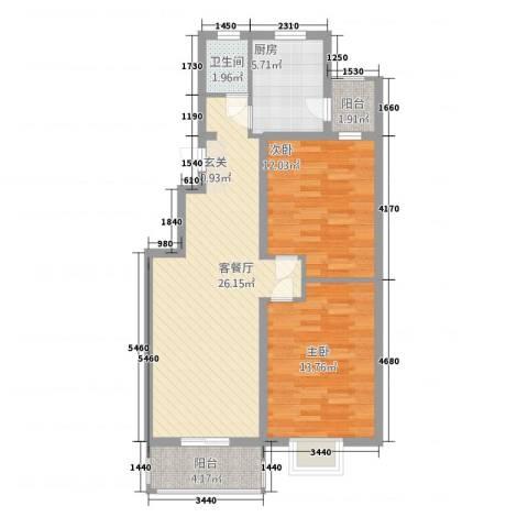 金鼎安邦2室1厅1卫1厨65.68㎡户型图