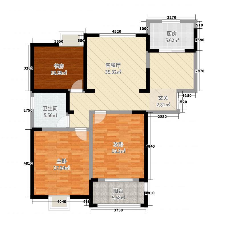 正兴・上东国际138.61㎡上东国际1户型3室2厅1卫1厨