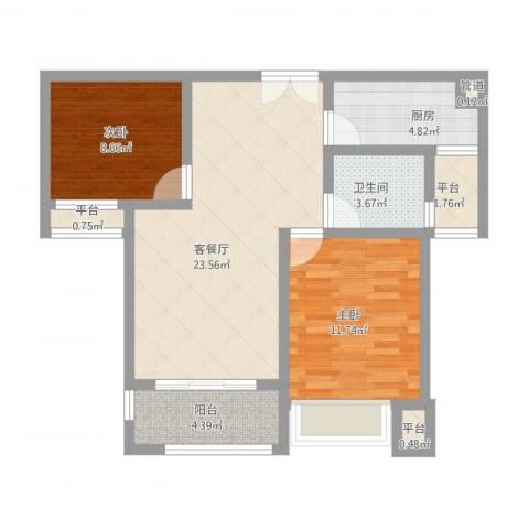 莱蒙水榭春天2室1厅3卫3厨89.00㎡户型图
