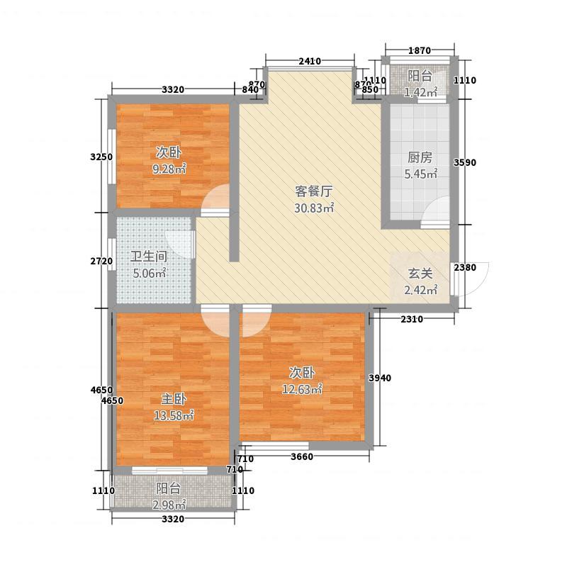 水岸云天11.20㎡4号楼A户型3室2厅1卫1厨