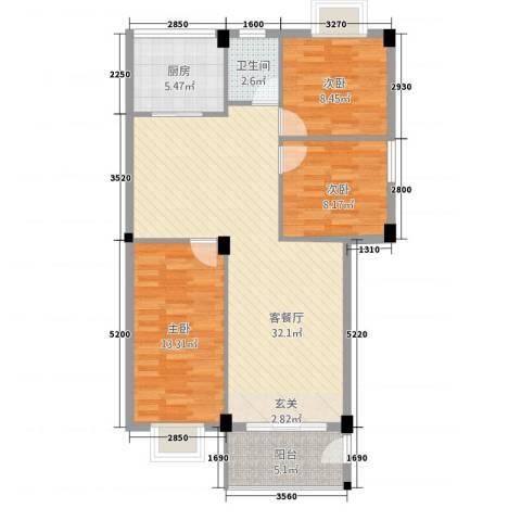 湖源居3室1厅1卫1厨105.00㎡户型图