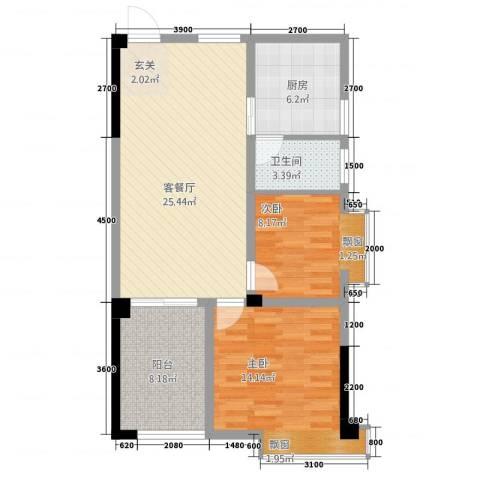 曼哈顿广场2室1厅1卫1厨74.58㎡户型图