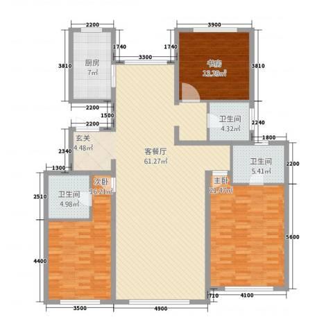 东方纽蓝地3室1厅3卫1厨3167.00㎡户型图