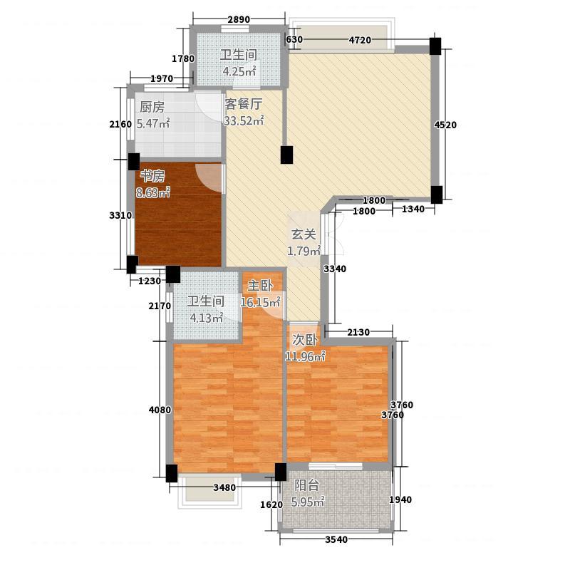 丰乐怡庭126.00㎡C2户型3室2厅2卫1厨