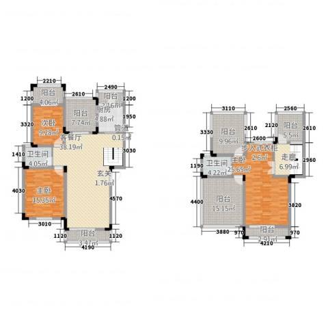 上河鹂岛3室1厅2卫1厨159.72㎡户型图
