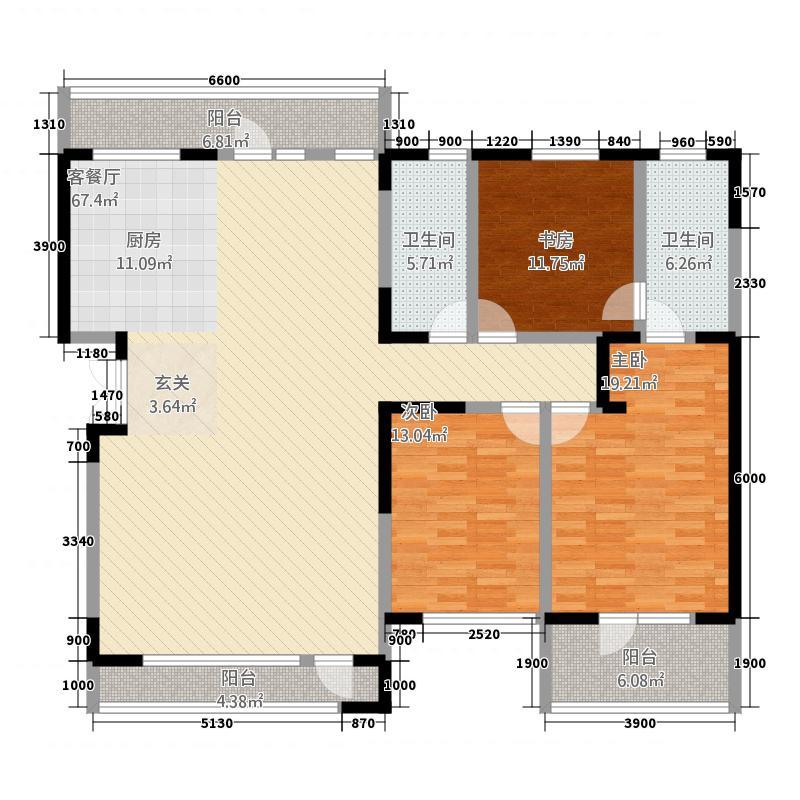 幸福家园14.00㎡户型5室