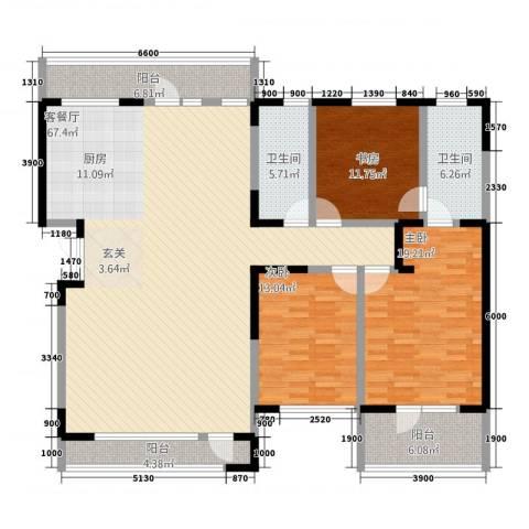 幸福家园3室1厅2卫0厨140.63㎡户型图