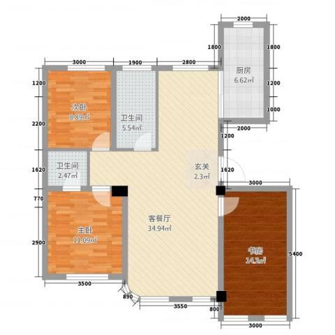 枫丹白露3室1厅2卫1厨83.71㎡户型图
