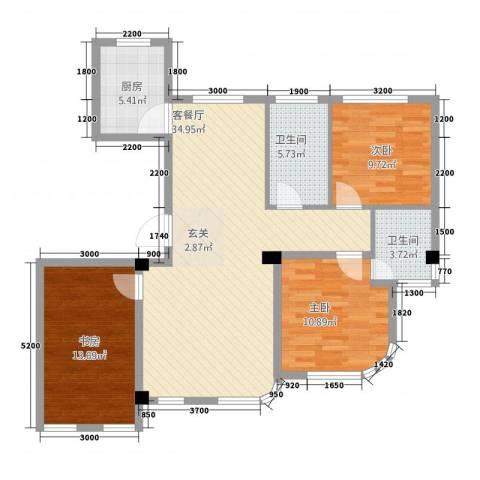 枫丹白露3室1厅2卫1厨84.04㎡户型图