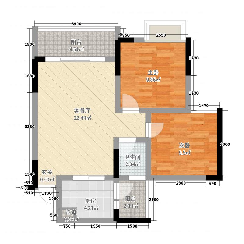 银海新城三期户型图三期17-20幢标准层E户型 2室2厅1卫1厨