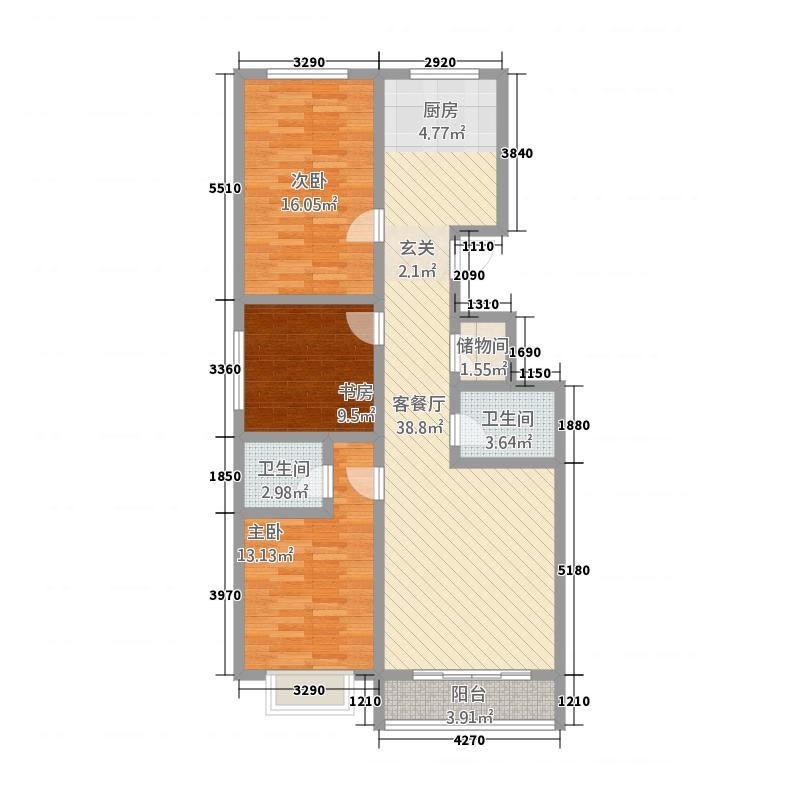 公园世家129.17㎡户型3室2厅2卫1厨