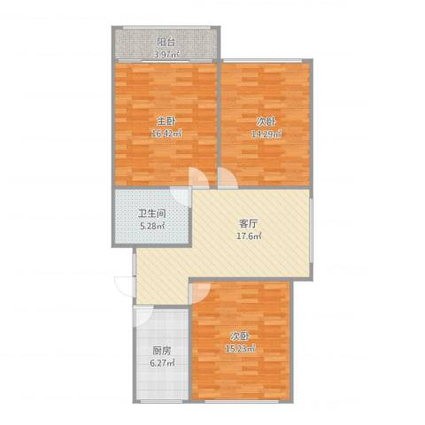 芳华路188弄小区3室1厅1卫1厨106.00㎡户型图