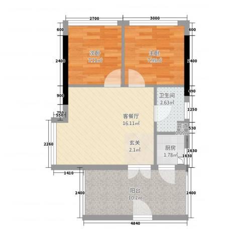 书香门第上河坊2室1厅1卫1厨66.00㎡户型图