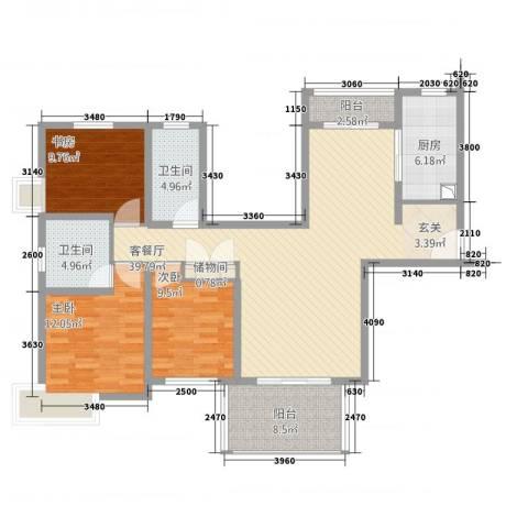 冠云花园3室1厅2卫1厨124.00㎡户型图