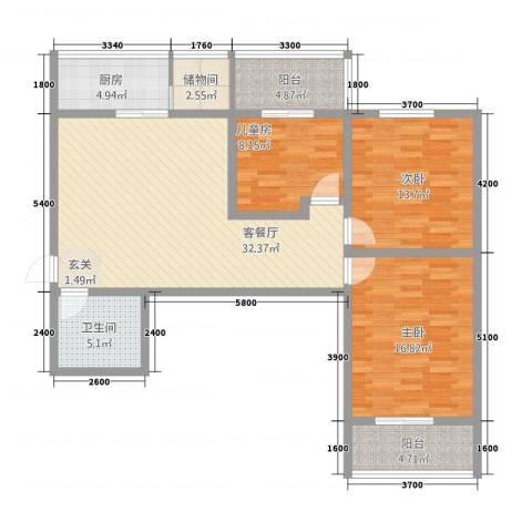 东兴7号3室1厅1卫1厨122.00㎡户型图
