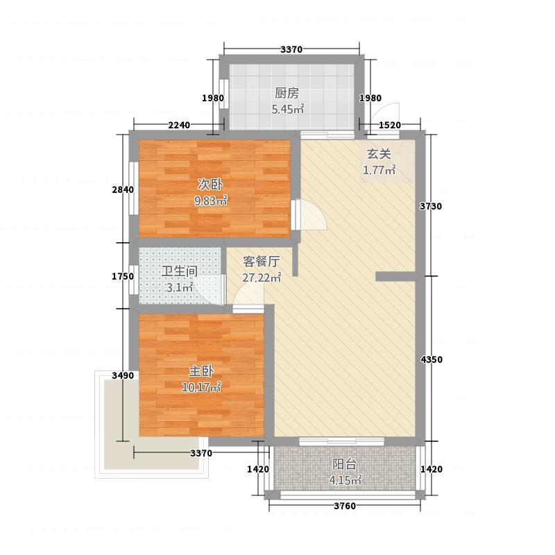 荣泰花园88.13㎡4#楼户型2室2厅1卫1厨