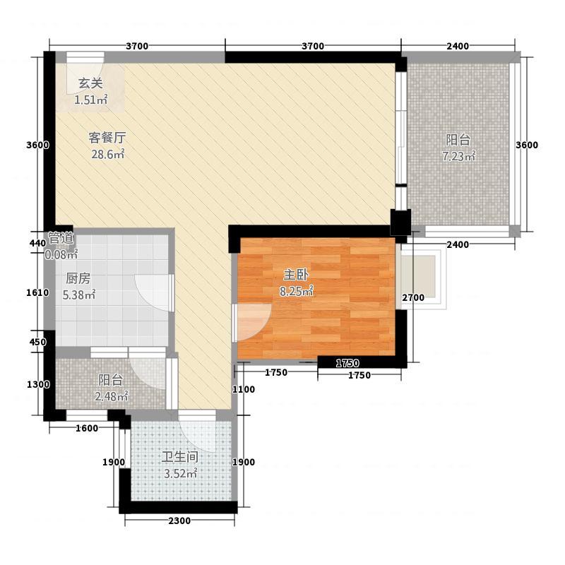 现代名城户型1室2厅1卫1厨