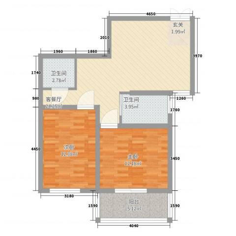 西线风景2室1厅2卫0厨88.00㎡户型图