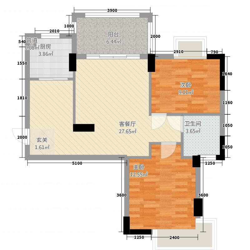 华茂苑琴海轩84.00㎡户型2室