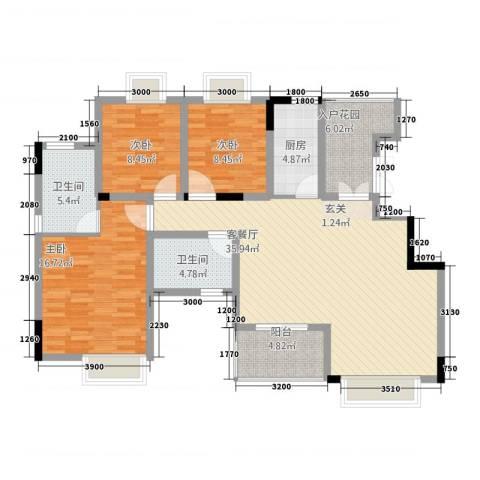 金辉帝景3室1厅2卫1厨137.00㎡户型图