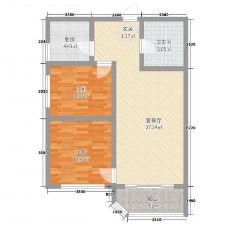 尚东豪景2室1厅1卫1厨88.00㎡户型图
