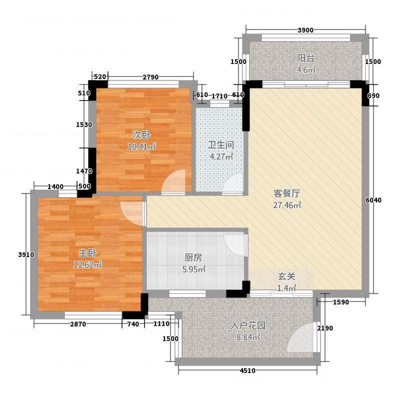 新龙岗商业中心84.00㎡户型2室