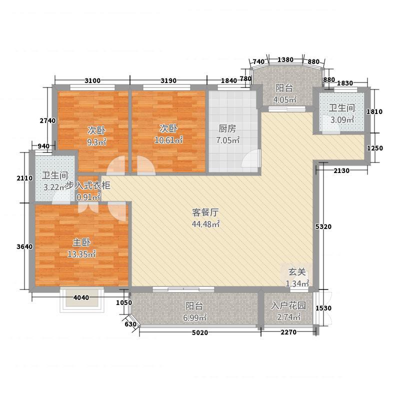 锦绣花园三期148.32㎡贵族城邦户型3室2厅1卫1厨