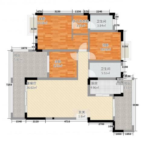 金辉帝景3室1厅2卫1厨163.00㎡户型图