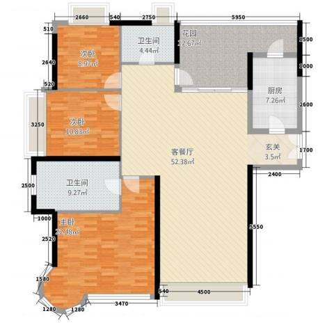 世纪城国际公馆 坎培拉3室1厅2卫1厨178.00㎡户型图