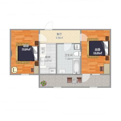 二七南路宿舍2室1厅1卫1厨72.00㎡户型图