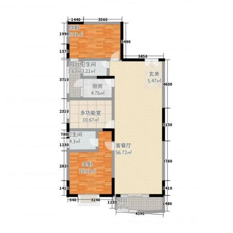 翡翠名都2室1厅2卫1厨122.09㎡户型图