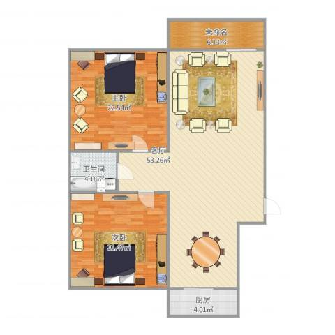 清河北苑2室1厅1卫1厨147.00㎡户型图