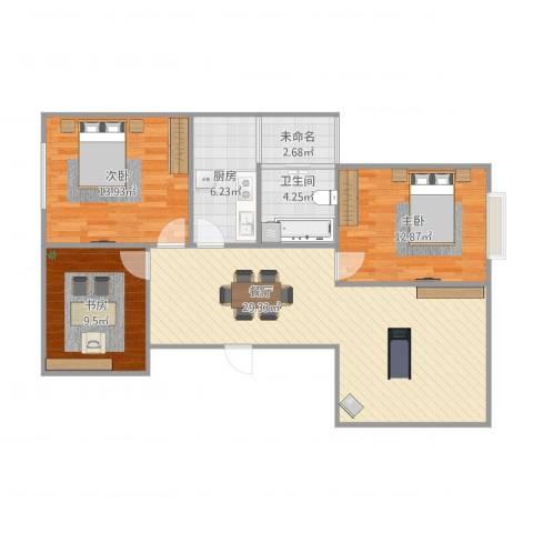 银河湾3室1厅1卫1厨106.00㎡户型图