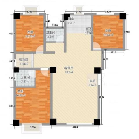 华洋・陶园3室1厅2卫0厨136.00㎡户型图
