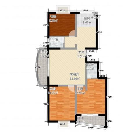天华・明珠3室1厅2卫0厨124.00㎡户型图