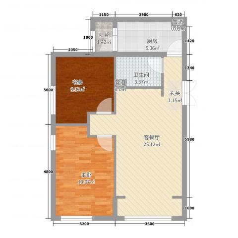 银领天地2室1厅1卫1厨82.00㎡户型图