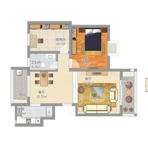 中天花园1室2厅1卫1厨116.00㎡户型图
